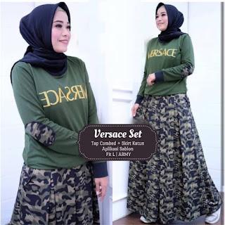 Jual Baju Setelan Muslim Wanita Versace Set