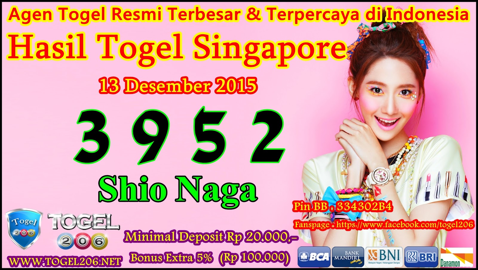 """"""" Hasil Togel SINGAPORE Minggu 13 Desember 2015 """" ~ Nomor 206"""