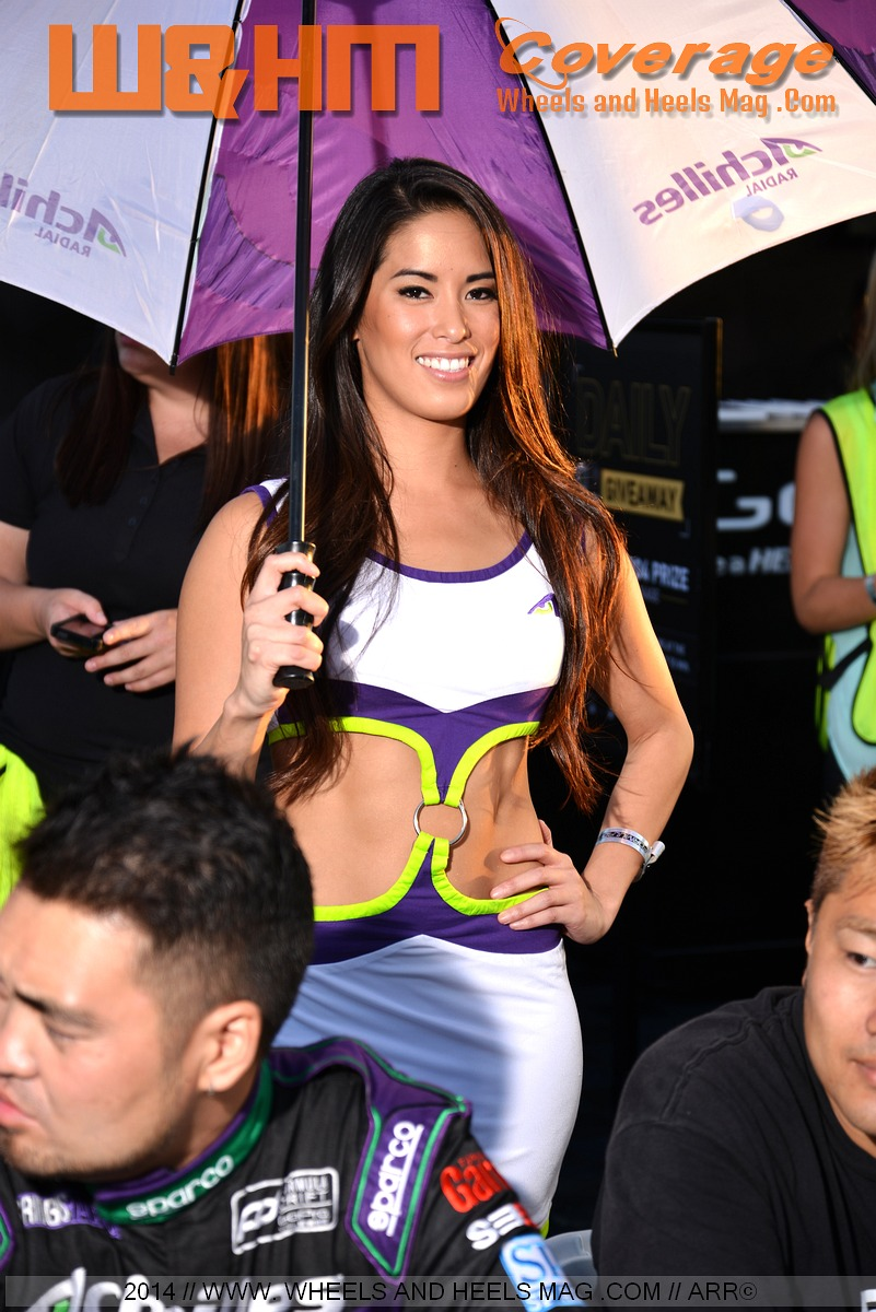 Arley Elizbabeth our cover model for Achilles Tires at 2014 Formula Drift Irwindale in their miniskirts