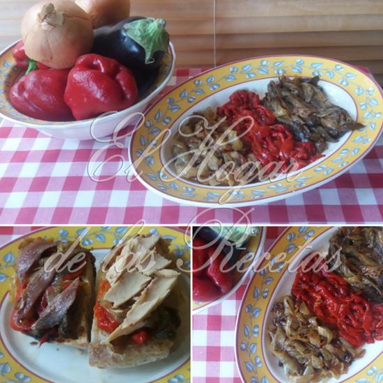 La escalivada es una ensalada de verduras asadas, con pimiento, cebolla y berenjena