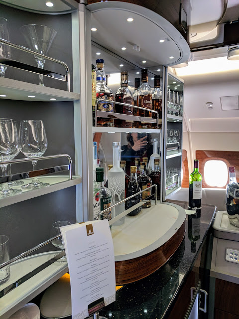 Walk-up bar on the Emirates Business Class service on the A380