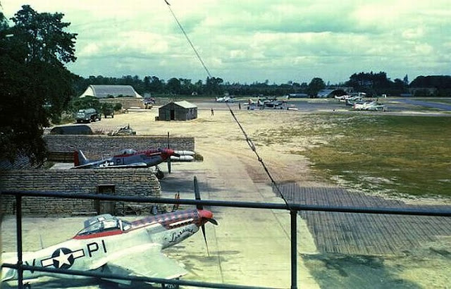 View from the control tower at Martlesham Heath, Suffolk, England, Planes in color worldwartwo.filminspector.com