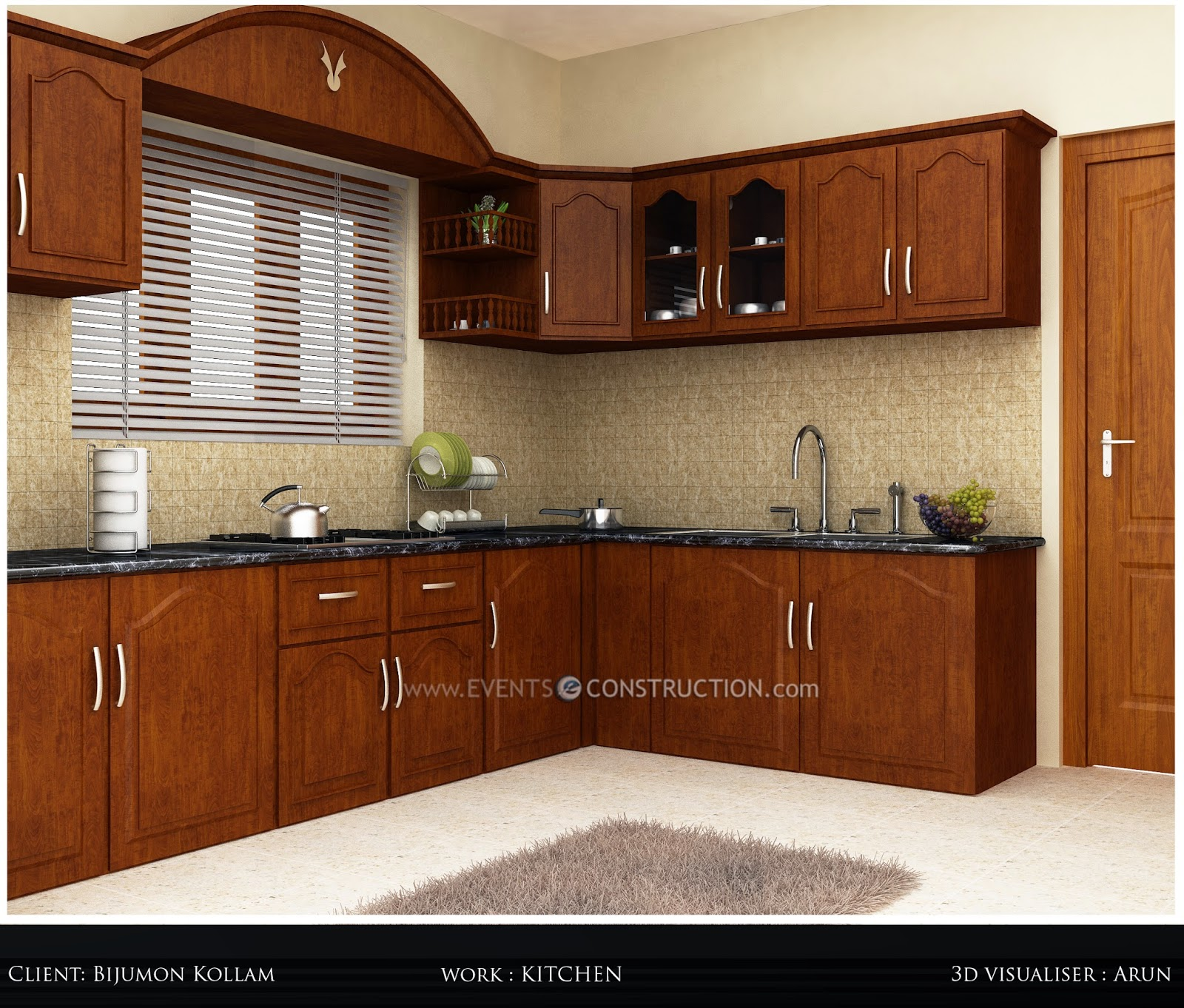 Evens Construction Pvt Ltd Simple Kerala Kitchen Interior