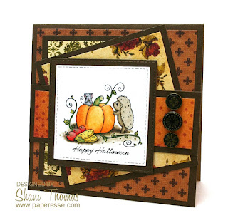 Hedgehog and pumpkin Halloween card featuring free digital stamp from Sliekje Stamps, by Paperesse.