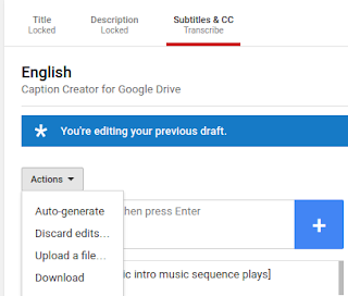 Action Menu with Dropdown menu with Auto-generate, discard edits, upload a file and download options