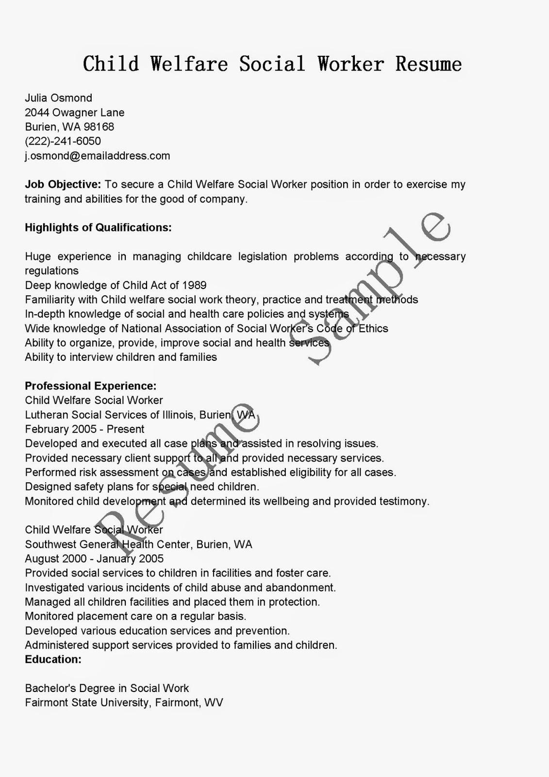 resume samples child welfare social worker resume sample