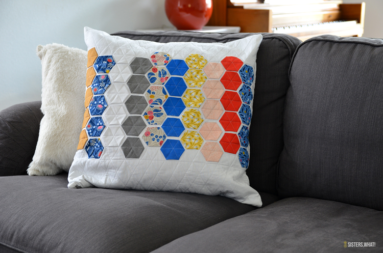 english paper piece pillow
