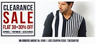 Myntra Clearance Sale: Flat 30% + Flat 30% additional off on Apparels / Footwear & Accessories