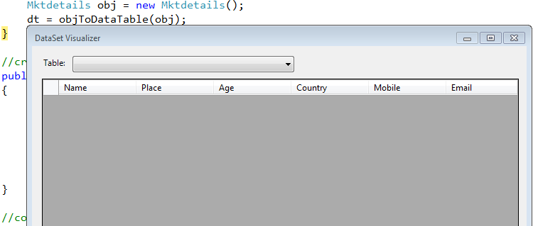 Convert Object to the DataTable Columns in C#