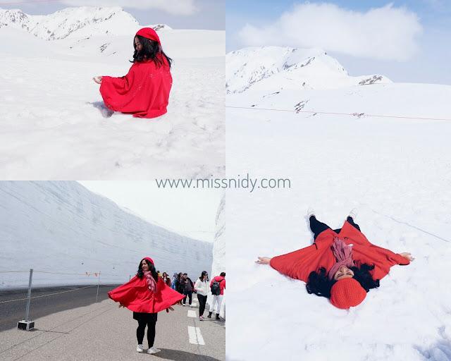 bermain salju di musim semi di jepang