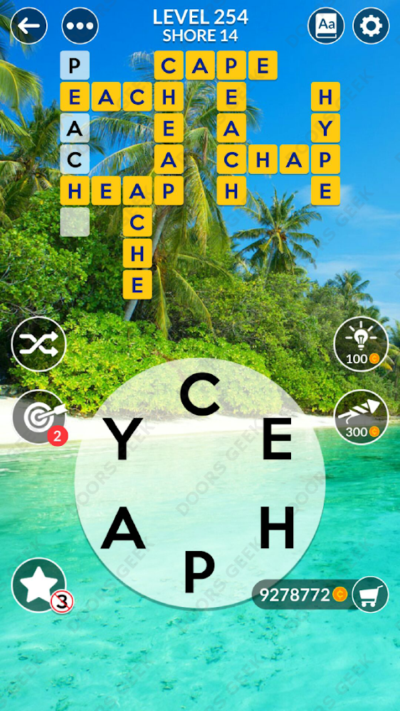 Wordscapes Level 254 answers, cheats, solution for android and ios devices.