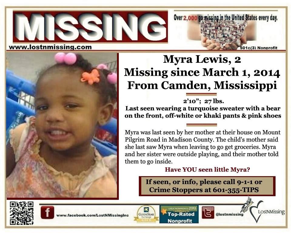LostNMissing, Inc: AMBER ALERT: Myra Lewis, 2 - Madison County