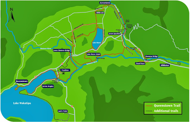Mapa das terilhas de Queenstown