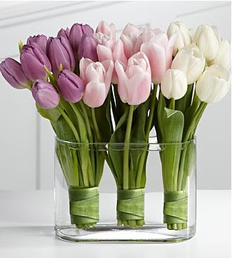 purple pink and white tulip centerpiece
