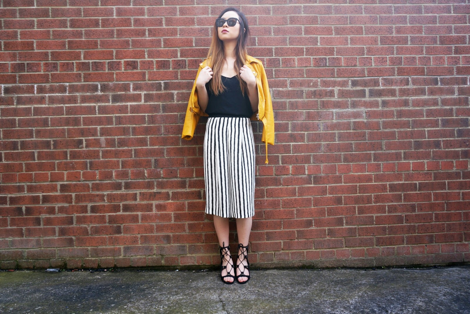 Leather jacket yellow stripe - Stripe Culottes And Leather