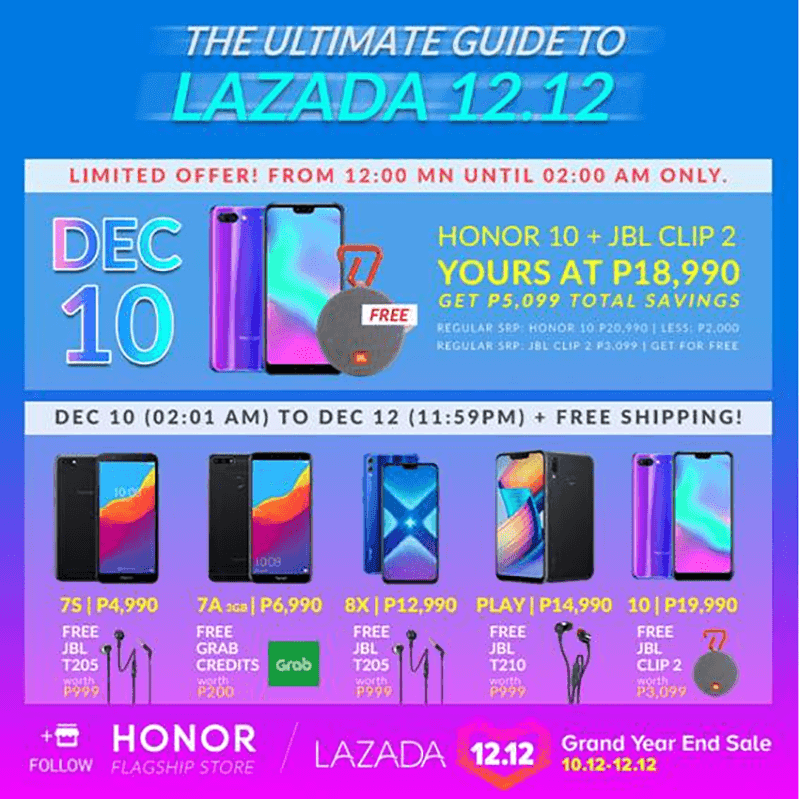 Honor deals for Lazada 12.12 sale