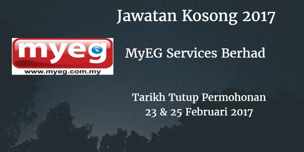 Jawatan Kosong MyEG Services Berhad 23 & 25 Februari 2017