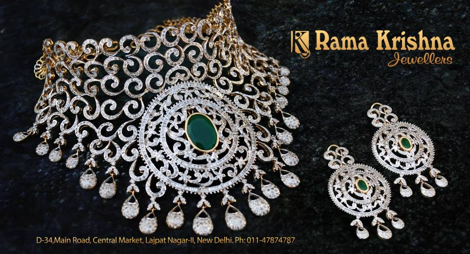 Indian Jewellery And Clothing Heavy Bridal Diamond Necklace
