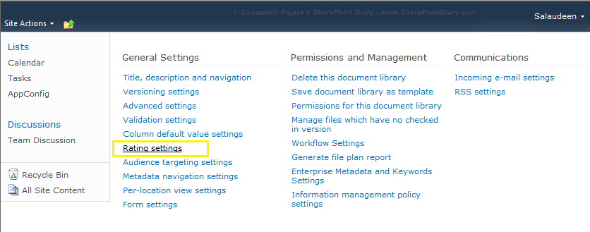sharepoint 2010 rating document library