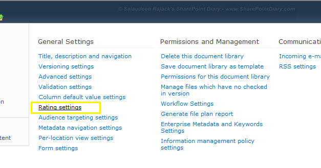 sharepoint 2010 rating feature configuration