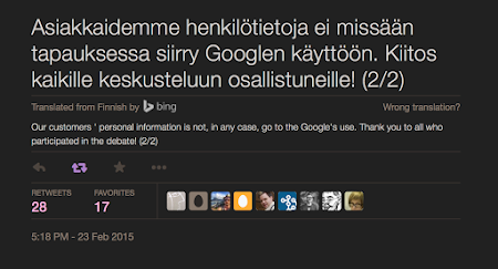 [Image: A tweet by the bank, in Finnish. Translation: Our customers' personal data will not be made available to Google under any circumstances. Thanks to everyone who participated in the discussion! (2/2)]