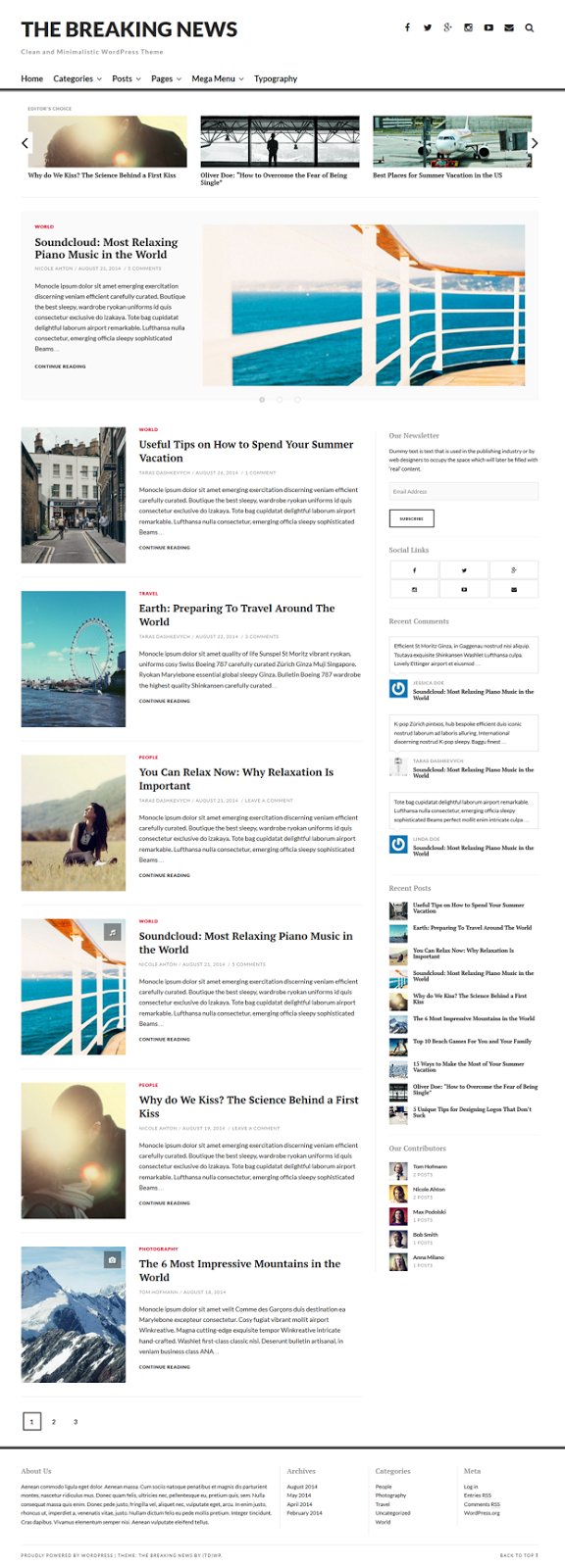 The Breaking News Responsive WordPress Theme