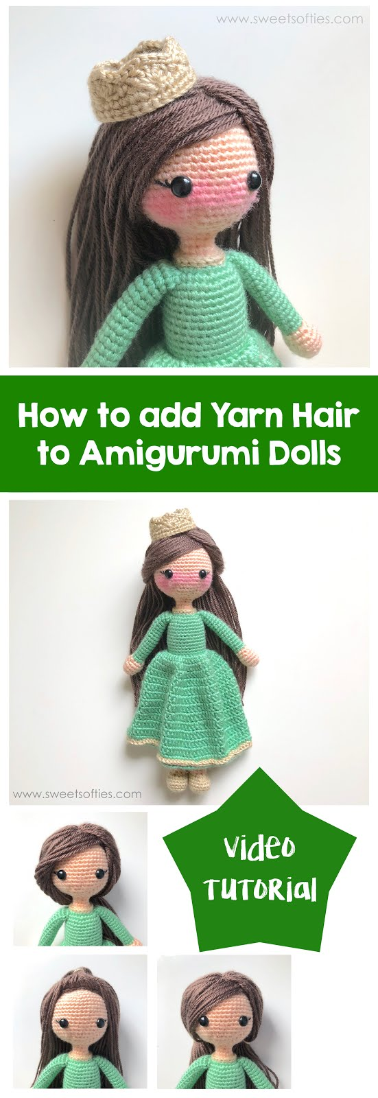 Hair Tutorial with Wig Cap for Crochet Doll BELLA with Step by ... | 1600x551