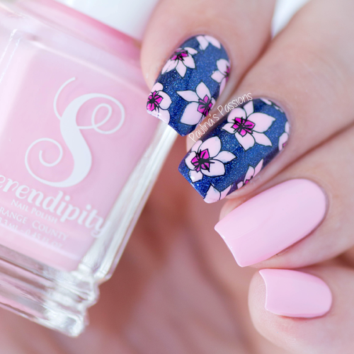 Royal Blue Floral Pink Nail Art Essentials