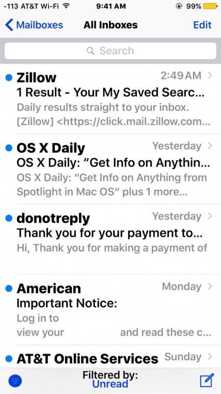 Cara Mudah Melihat Semua Unread Email Di iPhone iPad