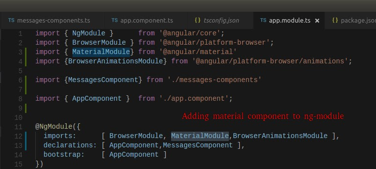 adding material component in ng-module