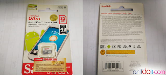 Tampilan Bungkus MicroSD SanDisk Ultra Class 10 32GB