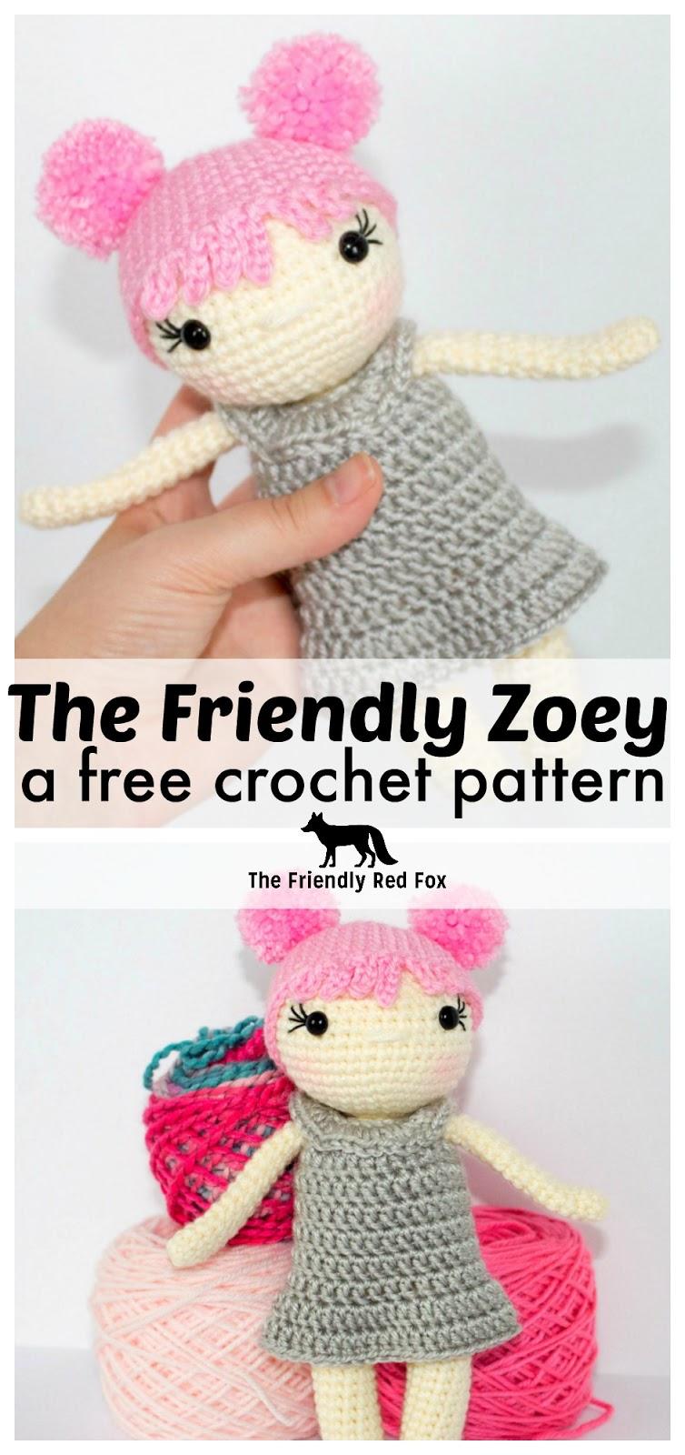 Free Crochet Doll Pattern The Friendly Zoey Thefriendlyredfox