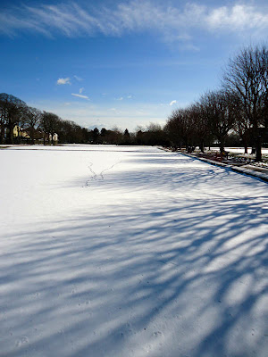 Bowling green in the snow: Beach House Gardens