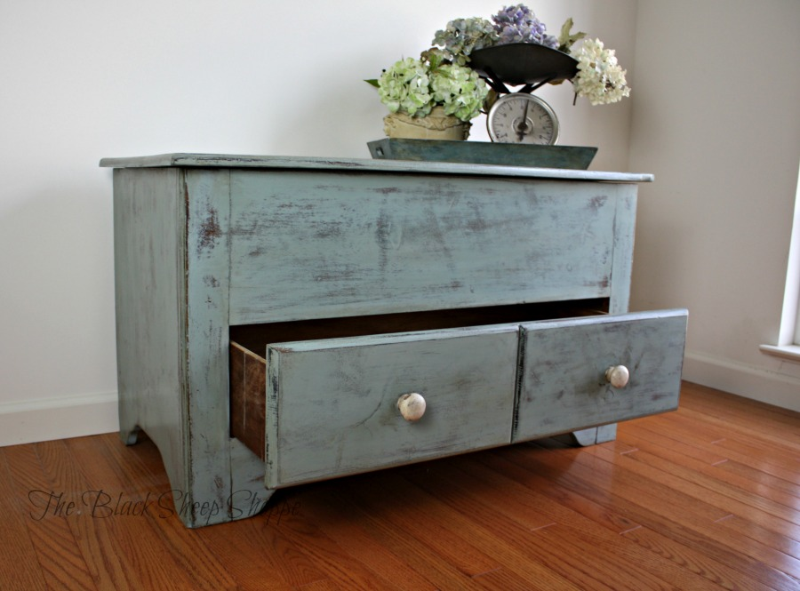 Blanket chest with bottom drawer.
