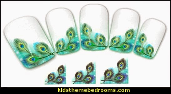 peacock nail water decals-nail art design-nails - peacock nail water decals