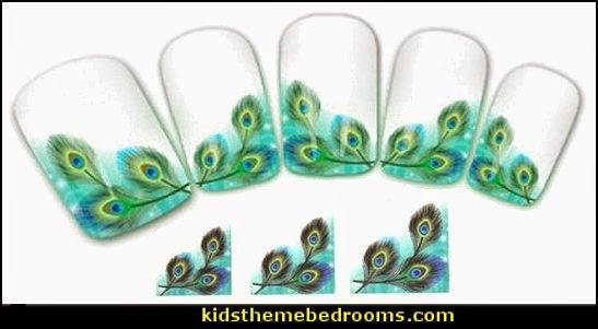 peacock nail water decals-nail art design-nails - peacock nail water decals