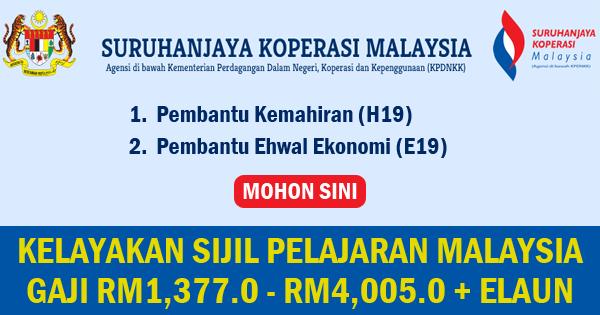 jawatan kosong suruhanjaya koperasi malaysia
