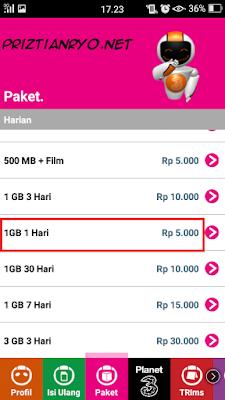 Paket Internet 3 (Tri) Murah 2018 1GB Cuma 5Ribu