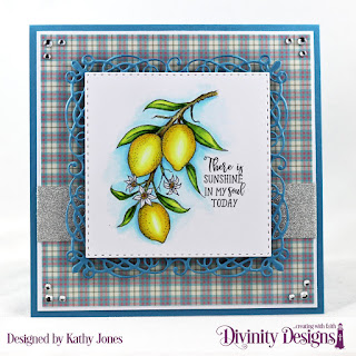Divinity Designs Stamp Set: Lemon Branch, Custom Dies:  Flourishy Frame, Double Stitched Squares, Paper Collection: Shabby Pastels