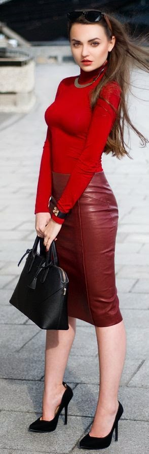 Pop Red , Burgundy Leather Pencil Midi Skirt