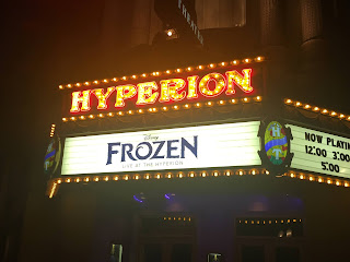 Frozen Live at the Hyperion Signage at Night Disney California Adventure