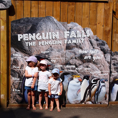 The girls outside Penguin Falls at Paradise Wildlife Park