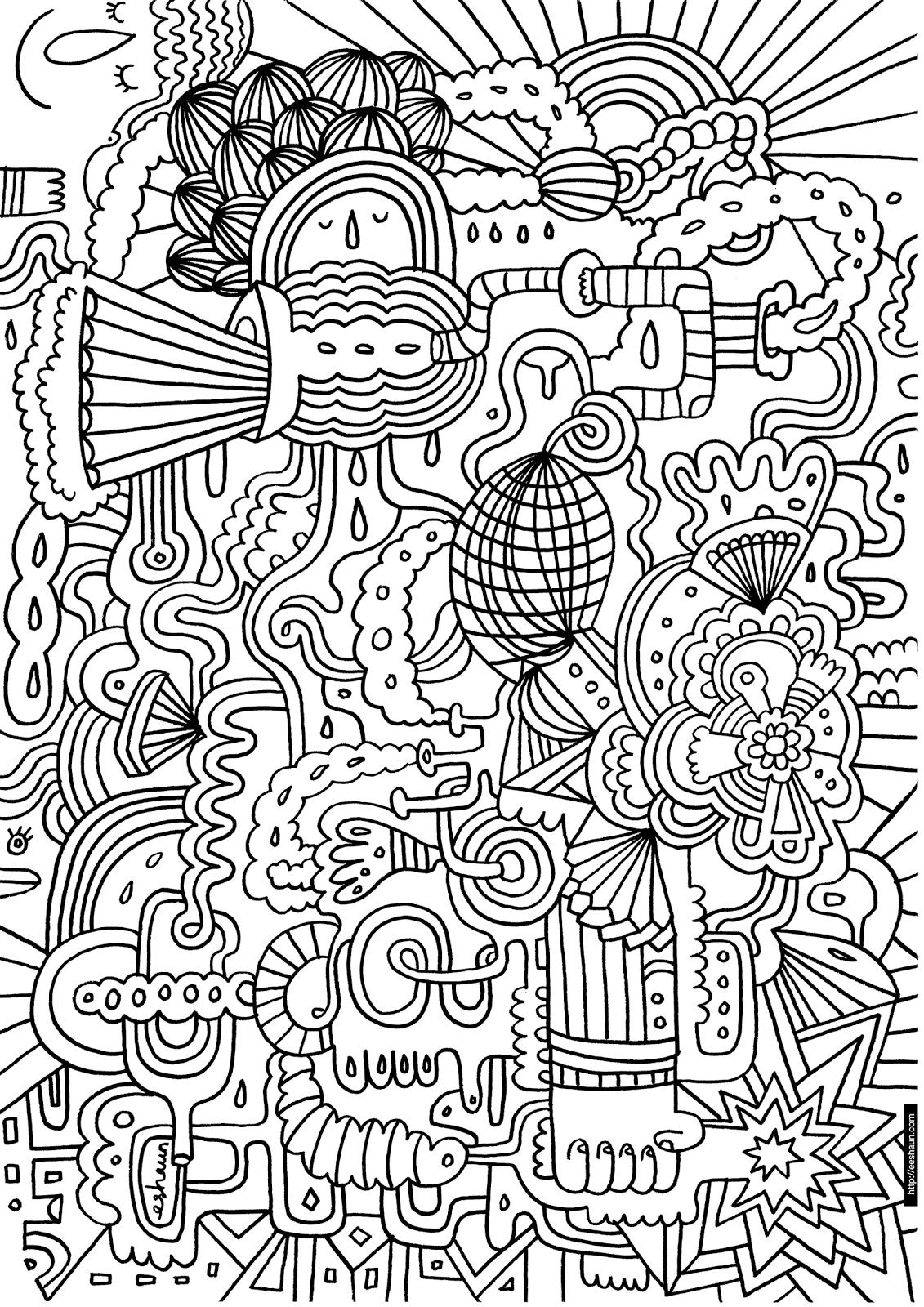 Unique Abstract Coloring Pages : Unique cool abstract coloring pages free