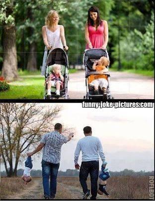Men vs Women Taking Children for a walk
