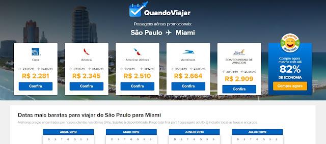 Ferramenta para achar passagens em promoção para Miami