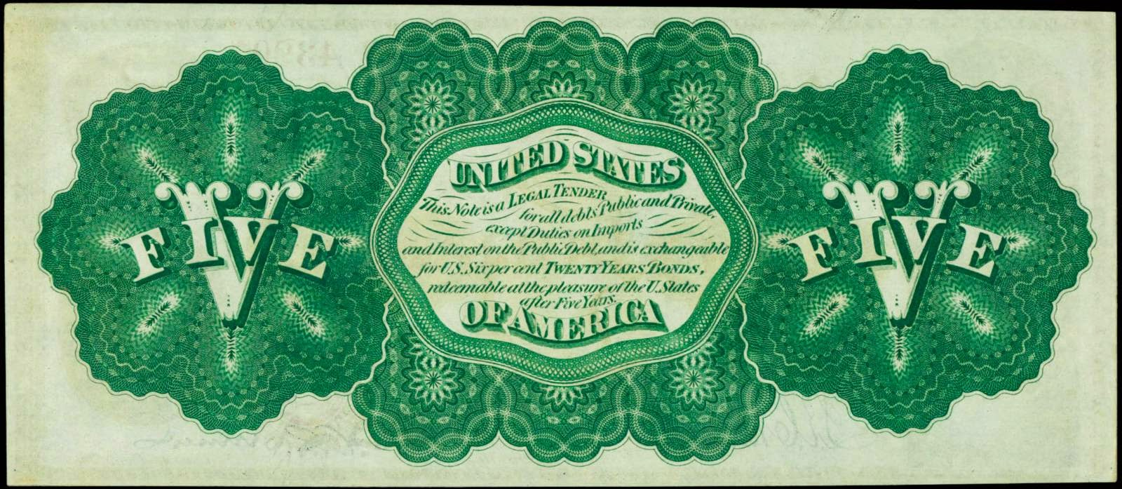 United States Paper Money 5 Dollars Legal Tender Note 1862