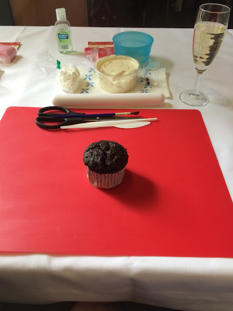 set up for a cupcake decorating class
