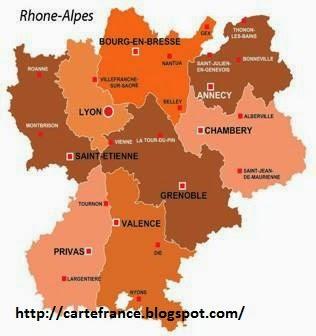 Carte Rhône Alpes Departement | Carte France Département Région