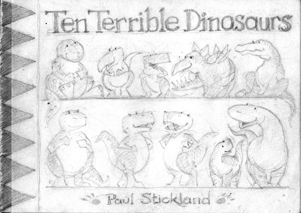 ten terrible dinosaurs, paul stickland, childrens dinosaur book, dinosaur drawings, dinosaur illustrations,