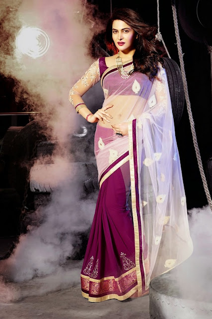 Lovely Purple & Off White Embrodered Bollywood  Saree With Art Silk Blouse